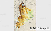 Physical Map of Neuquen, shaded relief outside