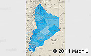 Political Shades Map of Neuquen, shaded relief outside