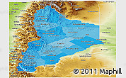 Political Shades Panoramic Map of Neuquen, physical outside