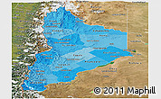 Political Shades Panoramic Map of Neuquen, satellite outside