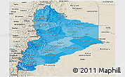Political Shades Panoramic Map of Neuquen, shaded relief outside