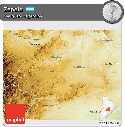 Free Physical D Map Of Zapala - Zapala argentina map