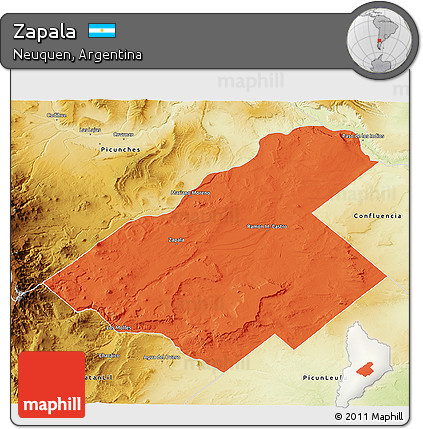 Free Political D Map Of Zapala Physical Outside - Zapala argentina map