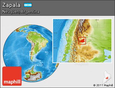 Free Physical Location Map Of Zapala - Zapala argentina map