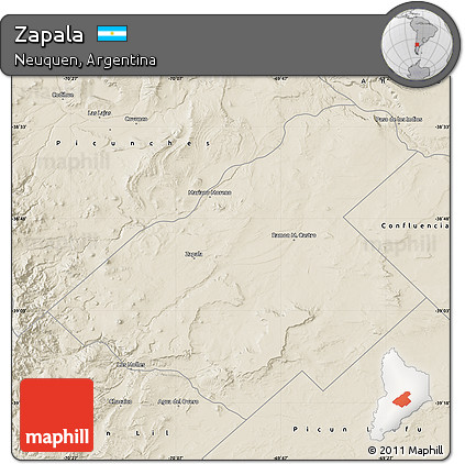 Free Shaded Relief Map Of Zapala - Zapala argentina map