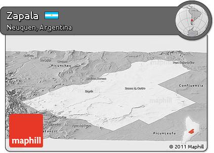 Free Gray Panoramic Map Of Zapala - Zapala argentina map
