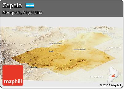 Free Physical Panoramic Map Of Zapala Lighten - Zapala argentina map