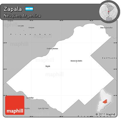 Free Gray Simple Map Of Zapala - Zapala argentina map