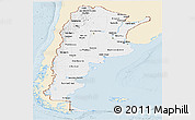 Classic Style Panoramic Map of Argentina, single color outside