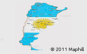 Flag Panoramic Map of Argentina, flag centered