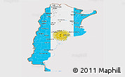 Flag Panoramic Map of Argentina, flag aligned to the middle