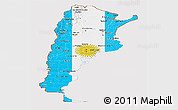 Flag Panoramic Map of Argentina, flag rotated