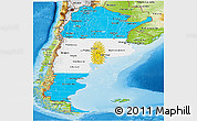Flag Panoramic Map of Argentina, physical outside