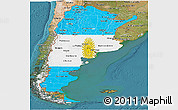 Flag Panoramic Map of Argentina, satellite outside
