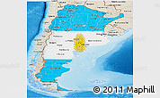 Flag Panoramic Map of Argentina, shaded relief outside