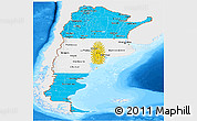 Flag Panoramic Map of Argentina, single color outside, bathymetry sea