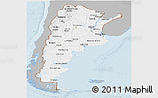 Gray Panoramic Map of Argentina, single color outside