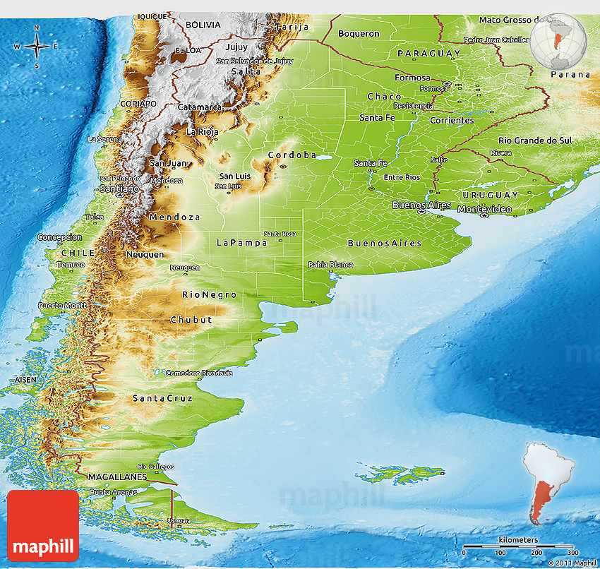Physical Panoramic Map Of Argentina - Physical map of argentina