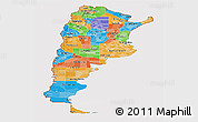 Political Panoramic Map of Argentina, cropped outside