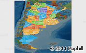 Political Panoramic Map of Argentina, darken