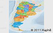 Political Panoramic Map of Argentina, lighten