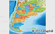 Political Panoramic Map of Argentina, physical outside