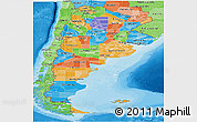 Political Panoramic Map of Argentina, political shades outside