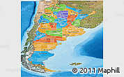 Political Panoramic Map of Argentina, satellite outside, bathymetry sea