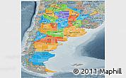 Political Panoramic Map of Argentina, semi-desaturated
