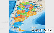 Political Panoramic Map of Argentina, shaded relief outside, bathymetry sea