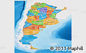 Political Panoramic Map of Argentina, single color outside