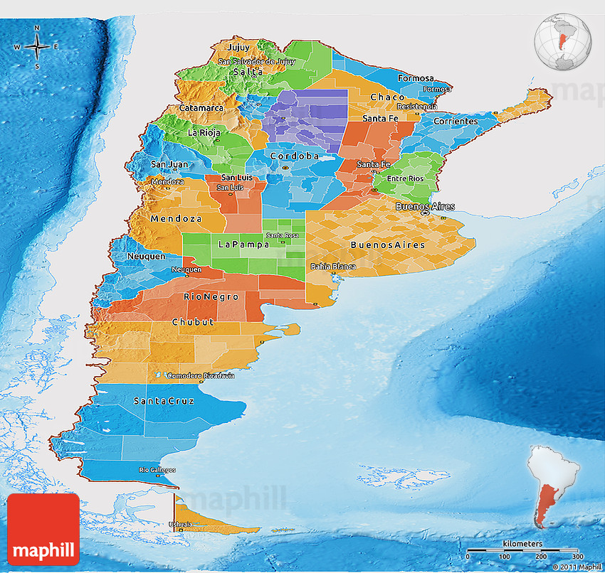 Political Panoramic Map of Argentina single color outside shaded