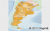 Political Shades Panoramic Map of Argentina, lighten