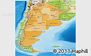 Political Shades Panoramic Map of Argentina, physical outside