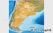 Political Shades Panoramic Map of Argentina, satellite outside, bathymetry sea