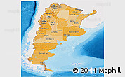 Political Shades Panoramic Map of Argentina, single color outside