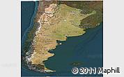 Satellite Panoramic Map of Argentina, darken