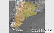 Satellite Panoramic Map of Argentina, desaturated