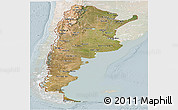 Satellite Panoramic Map of Argentina, lighten