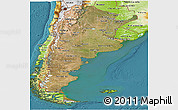 Satellite Panoramic Map of Argentina, physical outside, satellite sea