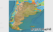 Satellite Panoramic Map of Argentina, political outside, satellite sea