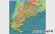 Satellite Panoramic Map of Argentina, political shades outside, satellite sea