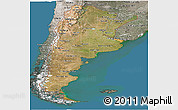 Satellite Panoramic Map of Argentina, semi-desaturated, land only