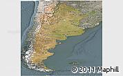 Satellite Panoramic Map of Argentina, semi-desaturated