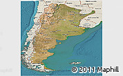 Satellite Panoramic Map of Argentina, shaded relief outside, satellite sea
