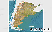 Satellite Panoramic Map of Argentina, single color outside