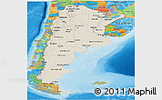 Shaded Relief Panoramic Map of Argentina, political outside, shaded relief sea