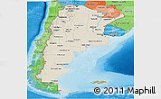 Shaded Relief Panoramic Map of Argentina, political shades outside, shaded relief sea