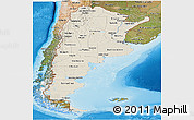 Shaded Relief Panoramic Map of Argentina, satellite outside, shaded relief sea