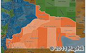 Political Shades Map of Rio Negro, darken